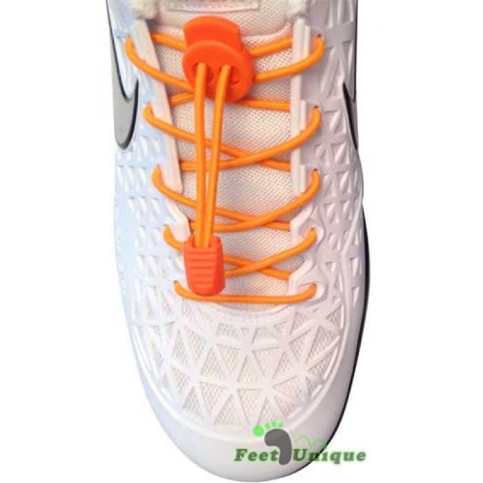 Cadarços elásticos laranja neon