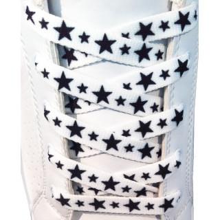 Cadarços de 10mm brancos com estrelas pretas