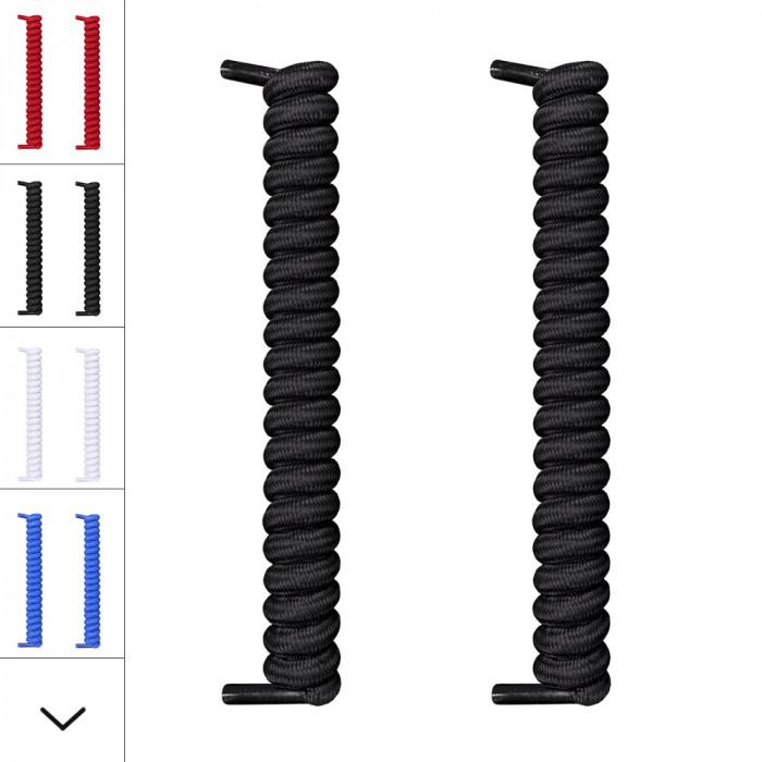 Cadarços pretos com espiral/encaracolado