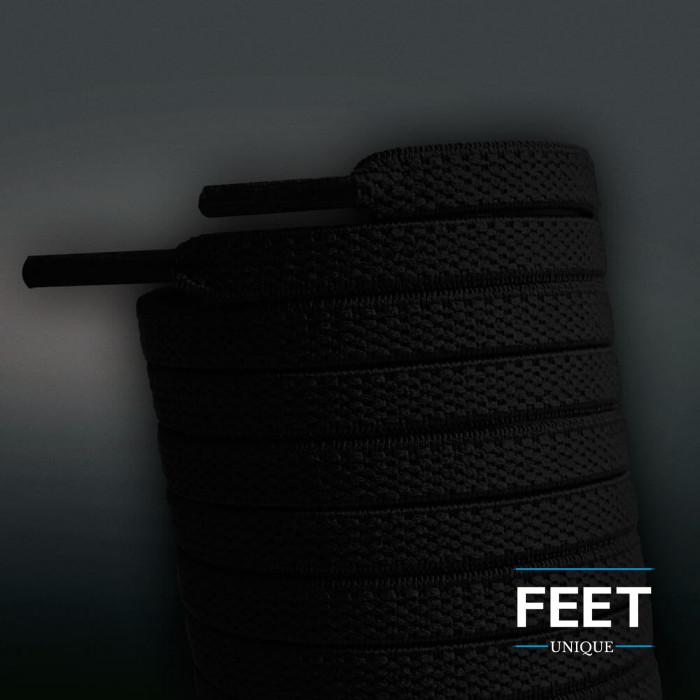 Cadarços chatos elásticos pretos (estica e puxa)