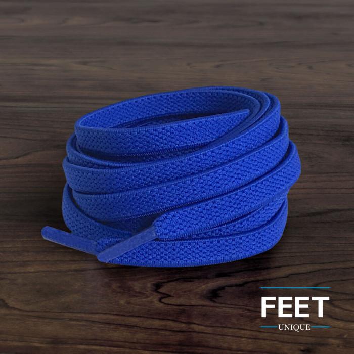 Cadarços chatos elásticos azuis (estica e puxa)