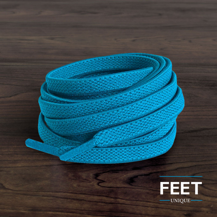 Cadarços elásticos azul-turquesa (estica e puxa)