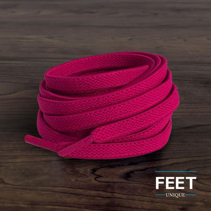 Cadarços chatos elásticos rosa-choque (estica e puxa)