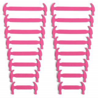 Cadarços elásticos rosa-choque de silicone